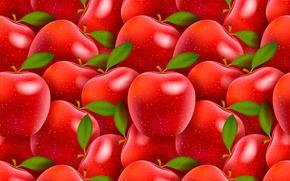 Обои красные, яблоки, плоды