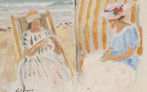 Картинка рисунок, картина, Henri Lebasque, Анри Лебаск, Две молодые женщины на пляже Сен-Жан-де-Мона