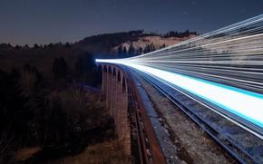 Картинка ночь, огни, поезд, железная дорога, Ghost Train