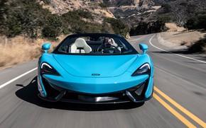 Картинка дорога, McLaren, суперкар, вид спереди, 2018, Spider, 570S