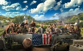 Обои облака, Far Cry 5, бандиты, люди, самолет, арт, церковь, стол, флаг, медведь, оружие