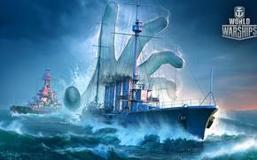 Картинка брызги, океан, игра, рука, корабли, армия, World Of Warship