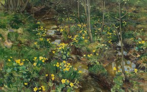Картинка цветы, природа, картина, Герхард Мюнте, Gerhard Munthe, Ноготки