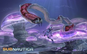 Картинка девушка, океан, водолаз, монстр, арт, Subnautica