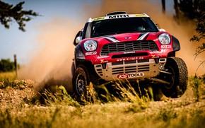 Картинка Красный, Авто, Mini, Пыль, Спорт, Скорость, Гонка, Rally, Внедорожник, Ралли, Передок, X-Raid Team, MINI Cooper, …