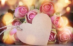 Картинка розы, love, бутоны, heart, pink, flowers, romantic, roses, valentine`s day