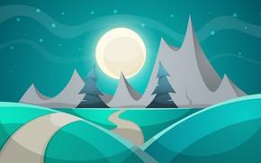 Картинка Горы, Ночь, Деревья, Рендеринг