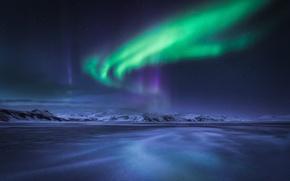 Обои зима, ночь, северное сияние, север