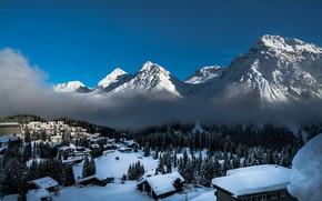 Картинка зима, горы, туман, дома