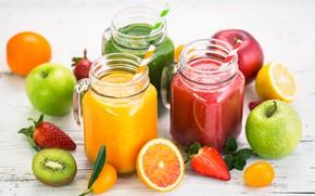 Обои киви, сок, смузи, цитрусы, трубочки, фрукты, яблоки, банки, клубника, ягода