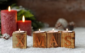 Картинка декор, свечи, новый год, праздник, шишки