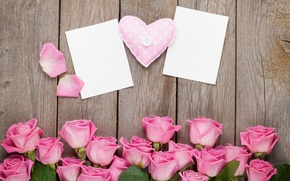 Картинка heart, love, valentine`s day, roses, sweet, pink, romantic, gift, розы, petals