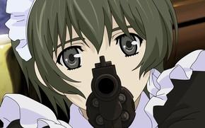 Картинка дуло, патроны, убийца, униформа, горничная, Ein, револьвер в руках, смотрит в глаза, Requiem for Phantom
