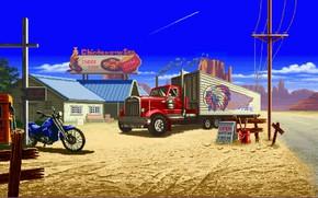 Картинка Красный, Станция, Грузовик, Мотоцикл, Графика, Пиксели, 8Bit, 8Бит, Забегаловка