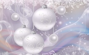 Картинка снежинки, рендеринг, праздник, рисунок, Новый год, картинка, елочные украшения, серебристый фон, жемчужный свет