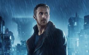Картинка ночь, город, огни, фантастика, дождь, дома, куртка, триллер, постер, Ryan Gosling, Райан Гослинг, Бегущий по ...