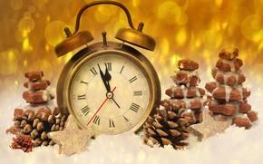 Картинка время, блики, фон, праздник, часы, новый год, печенье, будильник, шишки, полночь