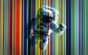 Картинка линии, полосы, цветные, костюм, астронавт