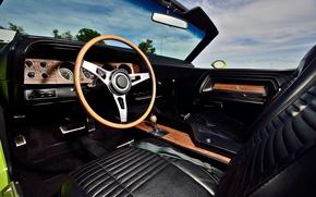 Картинка Dodge Challenger, muscle car, 1970, interior, Hemi, convertible car, gauges