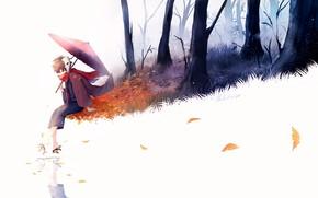 Картинка зонт, аниме, арт, lluluchwan, мальчие