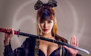 Обои азиатка, грудь, бант, катана, меч, ладонь, фон, взгляд, стиль