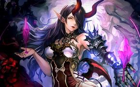 Картинка girl, horns, anime, brunette, anime girl, Belphegor, pointy ears, Shingeki no Bahamut, Shadowverse
