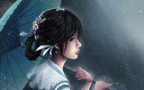 Картинка девушка, зонт, арт