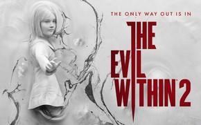 Обои арт, стена, The Evil Within 2, девочка