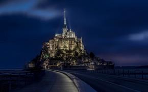 Картинка ночь, огни, замок, Франция, монастырь, Нормандия, Мон-Сен-Мишель