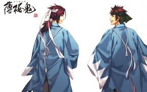 Картинка улыбка, спина, белый фон, повязка, плащ, art, самураи, демоны бледной сакуры, hakuouki shinsengumi kitan, yone …