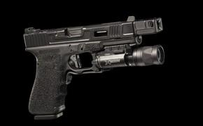 Картинка пистолет, фонарик, Glock, австрийский, самозарядный