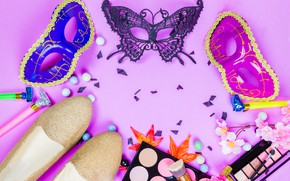 Картинка листья, цветы, стиль, обувь, макияж, тени, Маска, карнавал, style, flowers, leaves, shadows, Mask, makeup, carnival