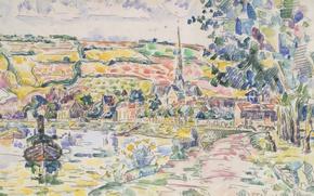 Картинка пейзаж, рисунок, акварель, Поль Синьяк, Малый Лез-Андели. Берег Реки