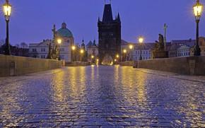 Картинка ночь, огни, Прага, Чехия, фонари, Карлов мост