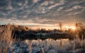 Обои дубна, река, рассвет, ноябрь, деревня, иней, лед, холод, утро