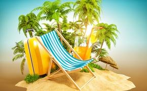 Обои песок, тропики, пальмы, креатив, отдых, остров, коктейль, чемодан, лежак, 3D Графика