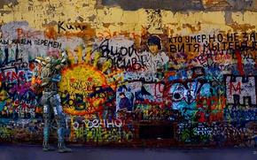 Картинка граффити, Робот, Стена