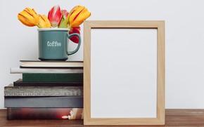 Картинка цветы, фото, книги, букет, рамка, colorful, кружка, тюльпаны, flowers, romantic, tulips, spring, coffee, mug