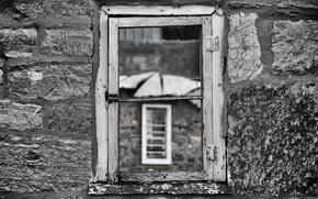 Картинка windows, wall, rocks, through