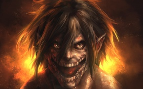 Картинка blood, monster, anime, asian, giant, manga, colossus, japanese, asiatic, Shingeki no Kyojin, Eren Yeager, Attack …