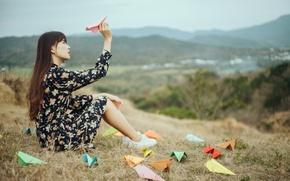 Картинка девушка, природа, самолётики