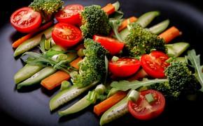 Картинка овощи, помидоры, огурцы, брокколи