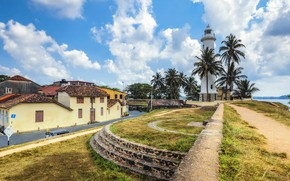 Обои облака, тропики, небо, солнце, маяк, Шри-Ланка, Galle fort, пальмы