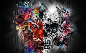 Обои half, skull, Lion