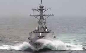 Картинка шторм, океан, barry, эсминец