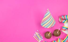 Картинка праздник, свечи, декор, кексы, именины