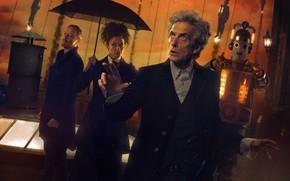 Картинка крыша, зонт, актеры, Doctor Who, Доктор Кто, Киберлюди, John Simm, Peter Capaldi, Cybermen, Двенадцатый Доктор, ...