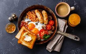 Обои сосиски, яичница, помидор, бекон, сковорода, тост, фасоль
