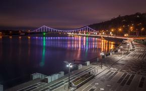 Обои река, фонари, Украина, Киев, огни ночного города, Парковый мост, набережная Днепра
