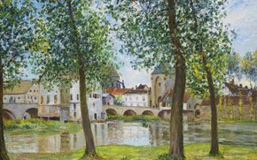 Картинка деревья, пейзаж, река, дома, картина, Alfred Sisley, Альфред Сислей, Мост в Морэ-сюр-Луэне